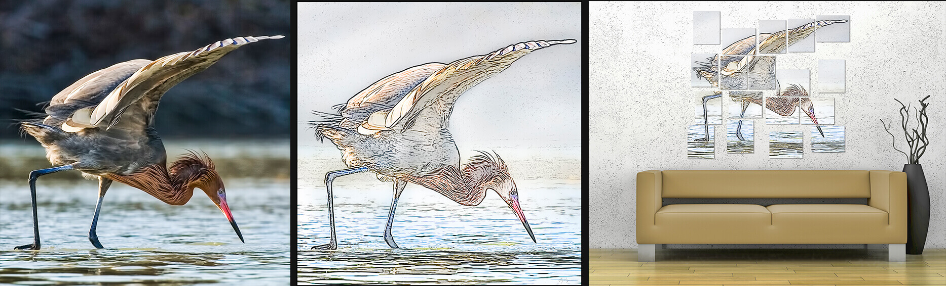 Reddish Egret Photographic Mosaic